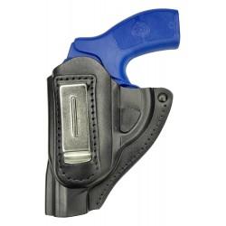 IWB 11Li Funda para revólver Smith & Wesson 360 de piel negro para zurdos VlaMiTex