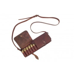 J6 Bolso/estuche para cartuchos de piel auténtica calibre 12 marrón VlaMiTex