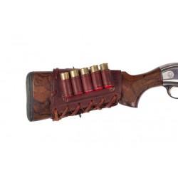 J16 Патронташ кожаный на приклад для 5 патронов 16 калибра, коричневый