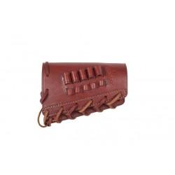 J18 Soporte para Cartuchos de Escopeta de Rifle.223 REM Calibre, de Cuero, marrón Rojizo