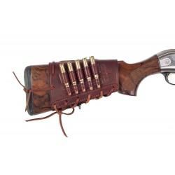 J19 Soporte para Cartuchos de Escopeta de Rifle, Calibre .308 Win, de Cuero, Negro/Marrón