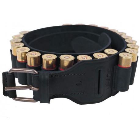 J25 Patronenguertel Echt-Leder 12 kal Schwarz VlaMiTex